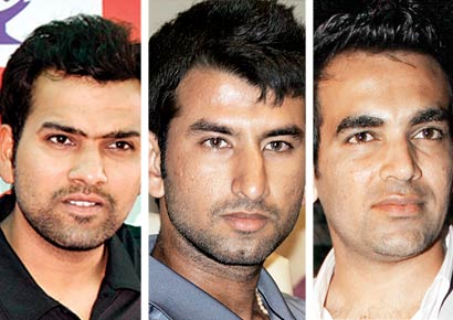 Rohit Sharma, Cheteshwar Pujara and Zaheer Khan.