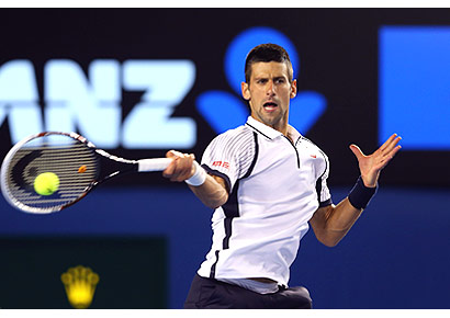 Serb Novak Djokovic in action against Tomas Berdych of Czech Republic in the Australian Open quarterfinal at Melbourne Park on Tuesday.
