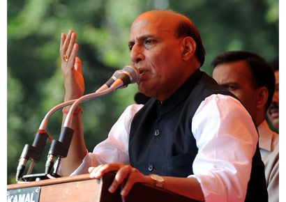 BJP leader Rajnath Singh addresses supporters. (File)
