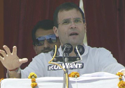 Rahul Gandhi at a recent election rally.