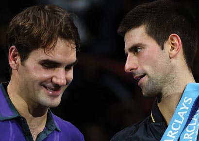Novak Djokovic of Serbia shakes hands with Roger Federer of Switzerland in this file photo