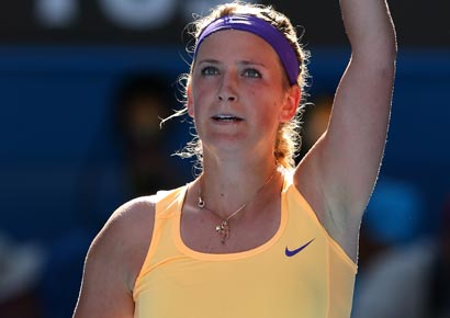 Victoria Azarenka of Belarus celebrates winning her semifinal match