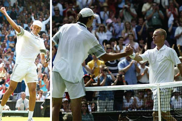 Ivo Karlovic of Croatia shakes hands at the net after beating defending champion Lleyton Hewitt during the opening day of 2003 Wimbledon on June 23, 2003.