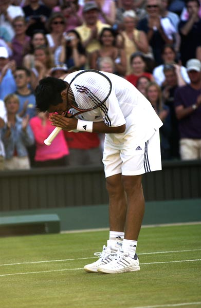 Paradorn Srichaphan of Thailand after he demolished Andre Agassi at 2002 Wimbledon.