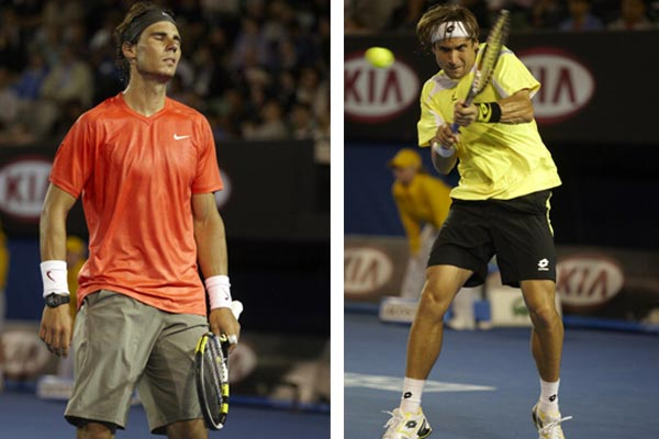 A shocked Rafael Nadal and David Ferrer (right) in action during men's quarter-final tie at the 2011 Australian Open.
