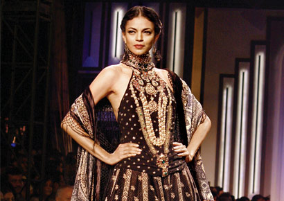 A model in one of Ritu Kumar's creations