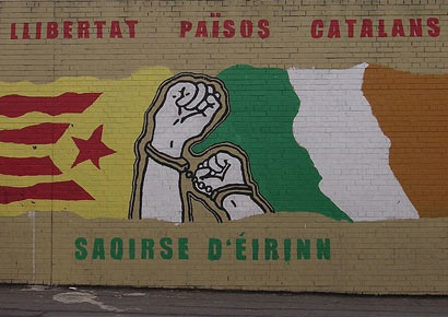 Catalan independentist mural in Belfast.