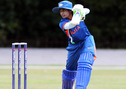 Mithali Raj hits out to the boundary during the NatWest Women's Quadrangular Series between Australia and India at Queens Park, Chesterfield, on July 2, 2011.