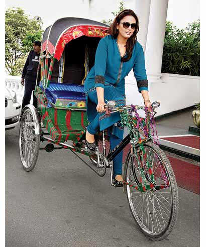 Huma Qureshi takes to a cycle-rickshaw in Lucknow.
