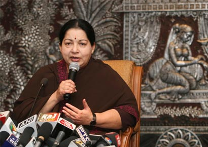 Tamil Nadu chief minister Jayalalithaa addresses the media at New Delhi on June 14, 2011.