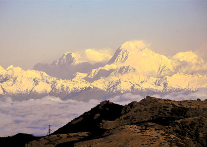 A view of Mt Everest at sunrise.
