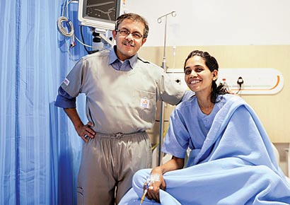 Dr Amit Maydeo with Netra Chowdhary at Global Hospital in Parel.