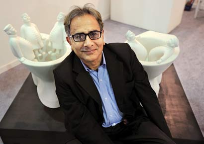 Gautam Bhatia with his art works at India Art Fair on New Delhi