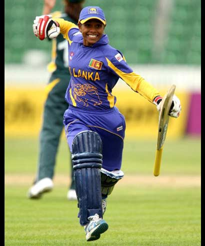 Sri Lanka's Dilani Manodara celebrates victory during the ICC Women's Twenty20 World Cup match against Pakistan at The County Ground in Taunton on June 12, 2009.