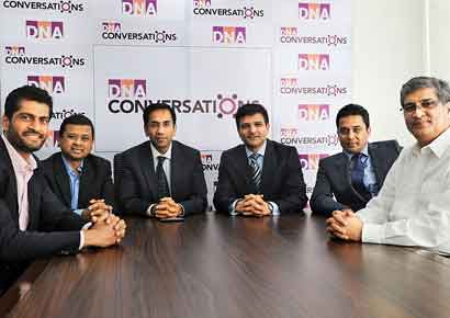 (From left) Rakesh Raicar, P Manoharan, Abraham Alapatt, Nishant Kashikar, Sajid Khan and Sudhir Patil at the <i>DNA</i> office