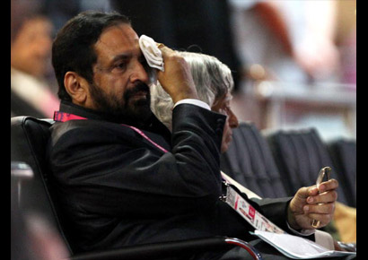 Chairman of Commonwealth Games (CWG) organising committee Suresh Kalmadi takes his seat prior to the opening ceremony at Delhi's Jawaharlal Nehru Stadium on October 3, 2010.