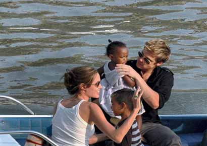 Brad Pitt and Angelina Jolie with kids
