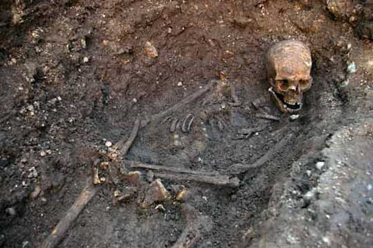 The skeletal remains found by archaeologist Mathew Morris during an archaelogical dig to find the remains of King Richard III in Leicester, central England
