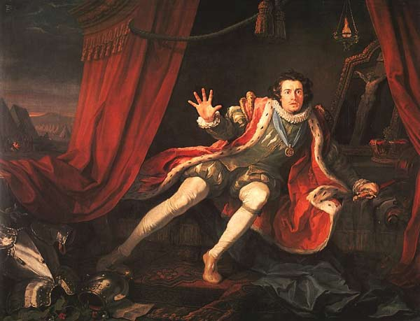 English actor David Garrick as Richard III just before the battle of Bosworth Field. His sleep having been haunted by the ghosts of those he has murdered, he wakes to the realisation that he is alone in the world and death is imminent. The painting, David Garrick as Richard III (1745), is by William Hogarth.