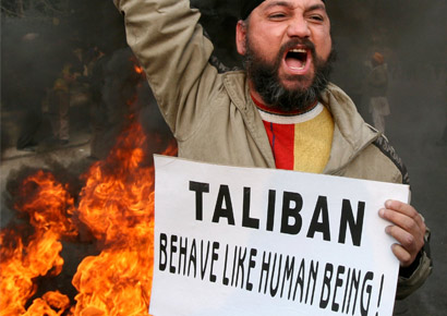 A Sikh protesting in Jammu on Tuesday, February 23, 2010 against the killing of a Sikh in Pakistan by Taliban militants