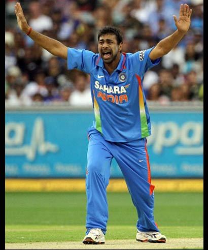 Praveen Kumar appeals unsuccessfully against Michael Clarke of Australia during game one of the Commonwealth Bank tri-series at the Melbourne Cricket Ground on February 5, 2012.