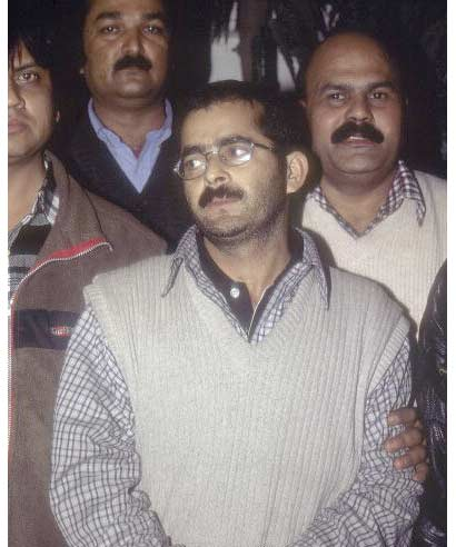 Mohammad Afzal Guru after his arrest in the Parliament attack conspiracy by Delhi Police in December 2001.