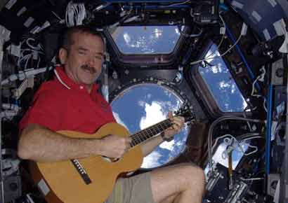 Astronaut Chris Hadfield records the first song in space. Courtesy: The Verge.
