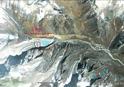 The South Lhonak Glacier, which drains east from Lhonak Peak into Sikkim from the Nepal-Sikkim border, has developed a lake whose outburst probability is very high at 42% and peak discharge estimated at 586 m3/s.