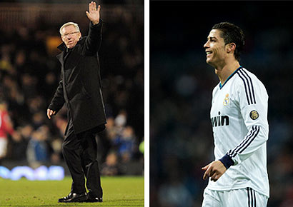 Sir Alex Ferguson waves to fans during a Barclays Premier League match at Craven Cottage on February 2, 2013. Real Madrid's Cristiano Ronaldo smiles during the la Liga match at Estadio Santiago Bernabeu in Madrid on February 9, 2013.