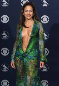 Jennifer Lopez and her infamous green Versace dress at the 42nd Grammy Awards