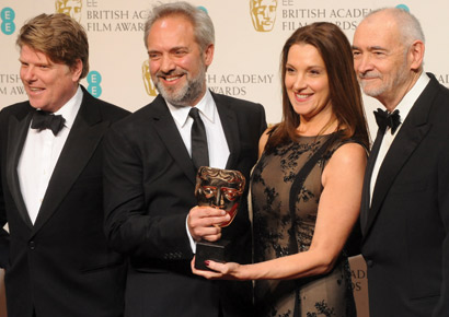 Robert Wade, Sam Mendes, Barbara Broccoli and Michael G. Wilson , winners of Outstanding British Film for <i>Skyfall</i>, pose in the press room at the EE British Academy Film Awards at The Royal Opera House on February 10, 2013 in London, England.