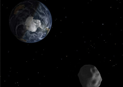 Artist's impression of 2012 DA14 passing Earth on 15 February 2013