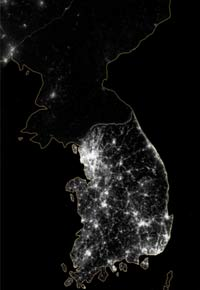 An image of the Korean Peninsula at night rendered from NASA observations