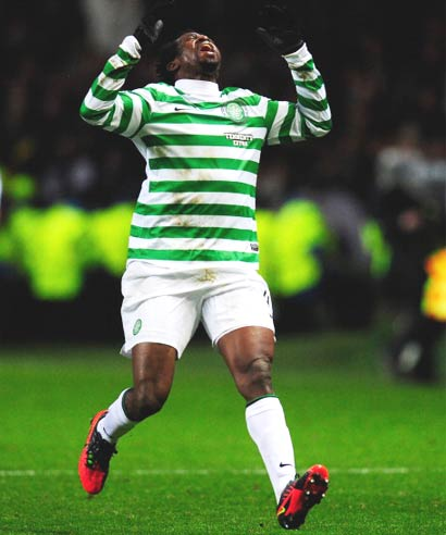 Efe Ambrose of Celtic reacts during the  UEFA Champions League Round of 16 first-leg match against Juventus at Celtic Park Stadium in Glasgow on February 12, 2013.