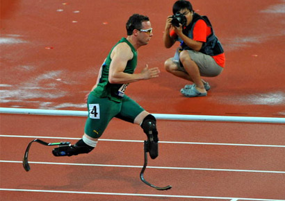 Oscar Pistorius of South Africa wins Gold with a World Record in the 400m T44 during day 10 of the 2008 Beijing Paralympic Games held in Beijing, China.