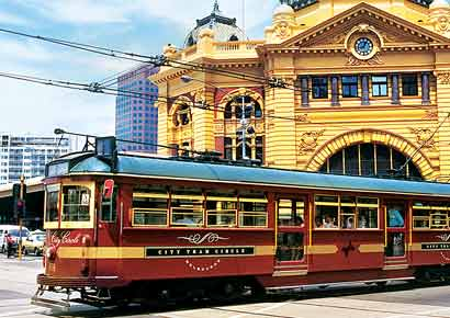 City Circle Tram at the Flinders Street Station in Melbourne.