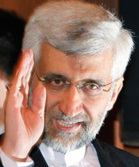 Iran's Supreme National Security Council Secretary and chief nuclear negotiator Saeed Jalili gestures as he arrives for a news conference in Almaty on Wednesday. World powers ended two days of talks with Iran on Wednesday with no sign of a breakthrough, and the two sides have agreed to meet at expert level in Istanbul next month and to hold further high-level negotiations in Kazakhstan in April.