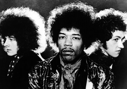 Portrait of the rock group The Jimi Hendrix Experience, left to right, Noel Redding (1945 - 2003), Jimi Hendrix (1942 - 1970) and Mitch Mitchell (1947-2008).