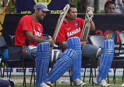 A file photo of MS Dhoni with Sachin Tendulkar
