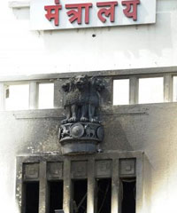 The gutted floors of the Mantralaya building in Mumbai on June 22, 2012.