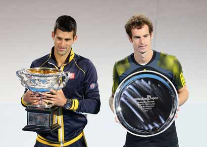 Andy Murray (R) and Novak Djokovic