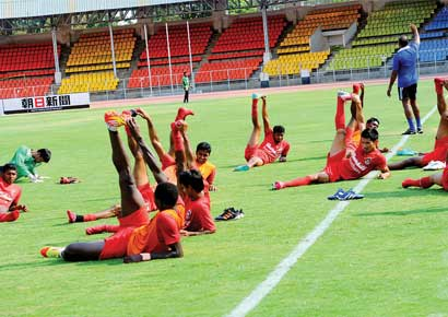 Churchill Brothers players train for their big game.