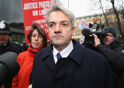 Former Liberal Democrat Cabinet minister Chris Huhne arrives at Southwark Crown Court to be sentenced on Monday in London, England.
