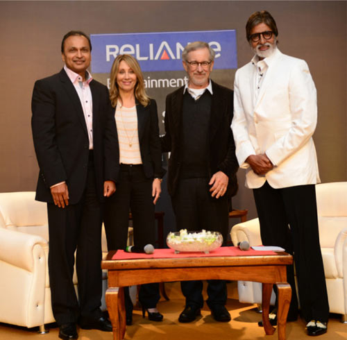 Anil Ambani,  Stacey Snider CEO and Co Chairman DreamWorks, Steven Spielberg and Amitabh Bachchan