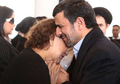 Mahmoud Ahmadinejad of Iran with Hugo Chvez's mother, Elena Fras, at her son's funeral last week in Caracas. Image courtesy: Marcelo Garcia/Miraflores Press Office, via Associated Press President 