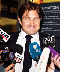 Shane Watson took questions from the media soon after his arrival in Sydney on Tuesday. 