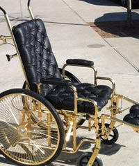 Lady Gaga's gold-plated wheelchair.