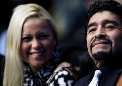 Diego Maradona with Veronica Ojeda.