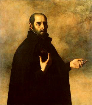 St Ignatius as the Superior General and (below) the symbol of the Society of Jesus