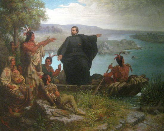 Painting of Fr Jacques Marquette, who along with Louis Jolliet were the first Europeans to explore and map the northern portion of the Mississippi River